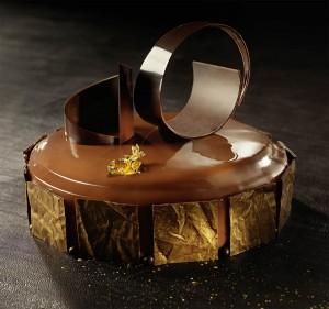 Gâteau au chocolat préparé avec un grand esthétisme